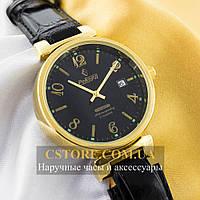 Мужские механические наручные часы Российской сборки Рекорд gold black (06140)