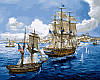 Живопись по номерам 40 × 50 см. Морское сражение худ. Фриман, Том
