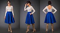 """Приталенное миди-платье из неопрена """"Fendy"""" с карманами и гипюровым верхом (4 цвета)"""