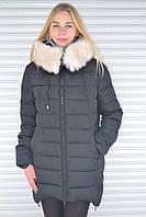 Модная ассиметричная синтепоновая зимняя куртка с мехом