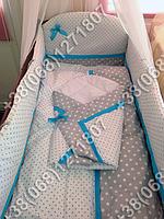"""Детское постельное белье в кроватку """"Горошек крупный"""" комплект 7 ед. (серый горох/горох)"""