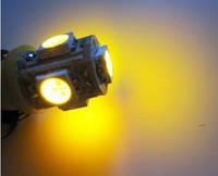 LED лампочка желтого свечения T10 АВТО