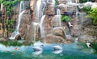 """Фотообои """"Водопад и лебеди"""" под индивидуальный размер"""