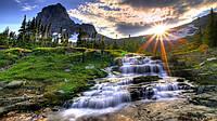 """Фотообои """"Водопад на закате"""" под индивидуальный размер"""