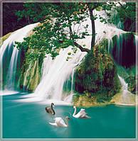 """Фотообои """"Водопад с лебедями"""" под индивидуальный размер"""