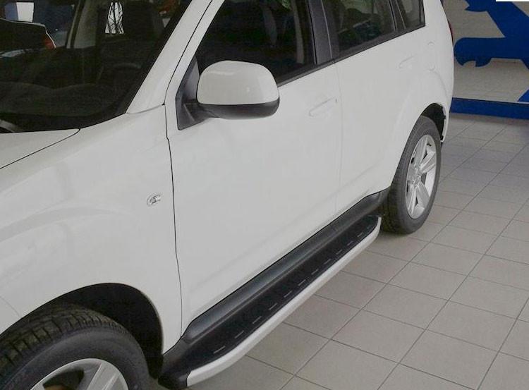 Боковые пороги Mitsubishi Outlander XL 2007-2010  (Allyans)