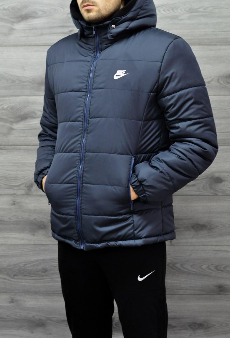 c54397e6 Зимняя мужская куртка Nike темно-синяя топ реплика - Интернет-магазин обуви  и одежды