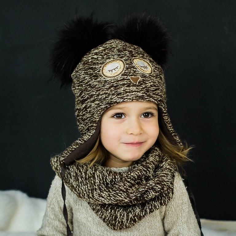 Детская зимняя шапка (набор) для девочек НАТАМИЯ (коричневый) оптом размер 48-50-52