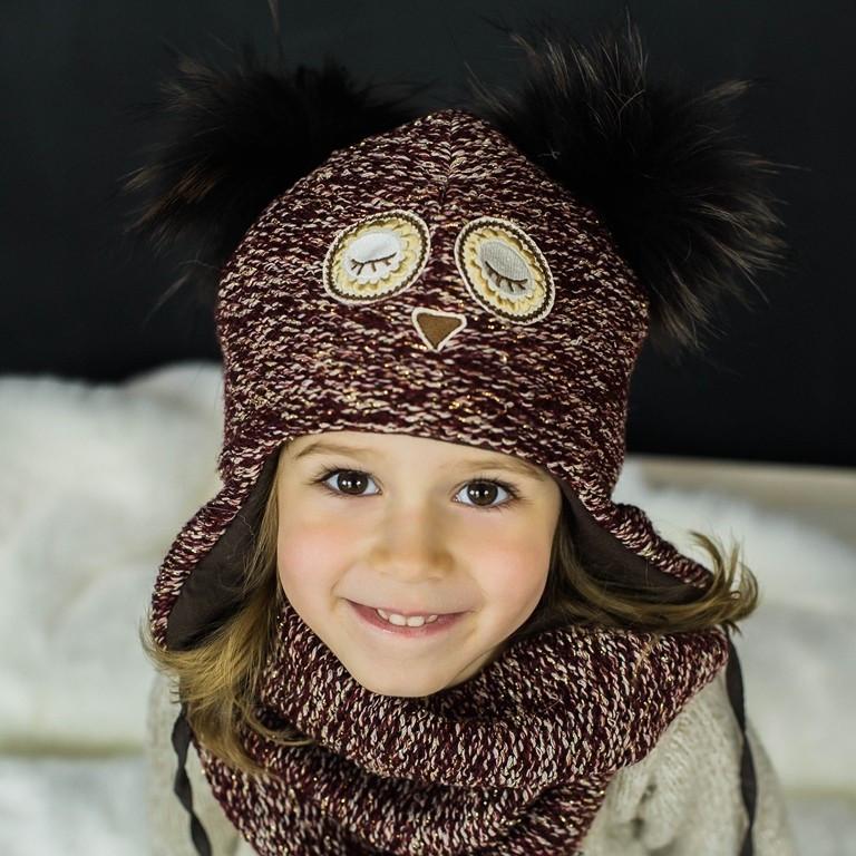 Детская зимняя шапка (набор) для девочек НАТАМИЯ (бордовый) оптом размер 48-50-52