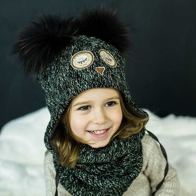 Детская зимняя шапка (набор) для девочек НАТАМИЯ (изумруд) оптом размер 48-50-52