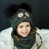 Детская зимняя шапка (набор) для девочек НАТАМИЯ (изумруд) оптом размер 48-50-52, фото 1
