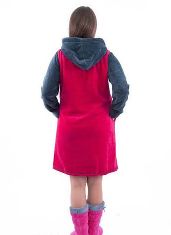 Халат махровый женский красно-серый, фото 2