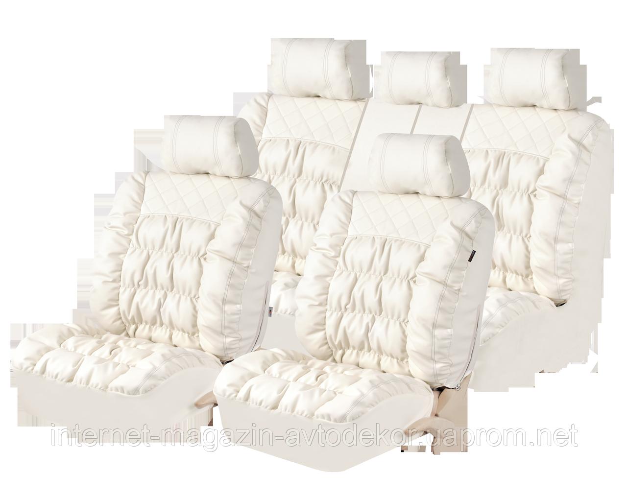 Чехлы на сиденья PSV Magnat качественная экокожа, слоновая кость