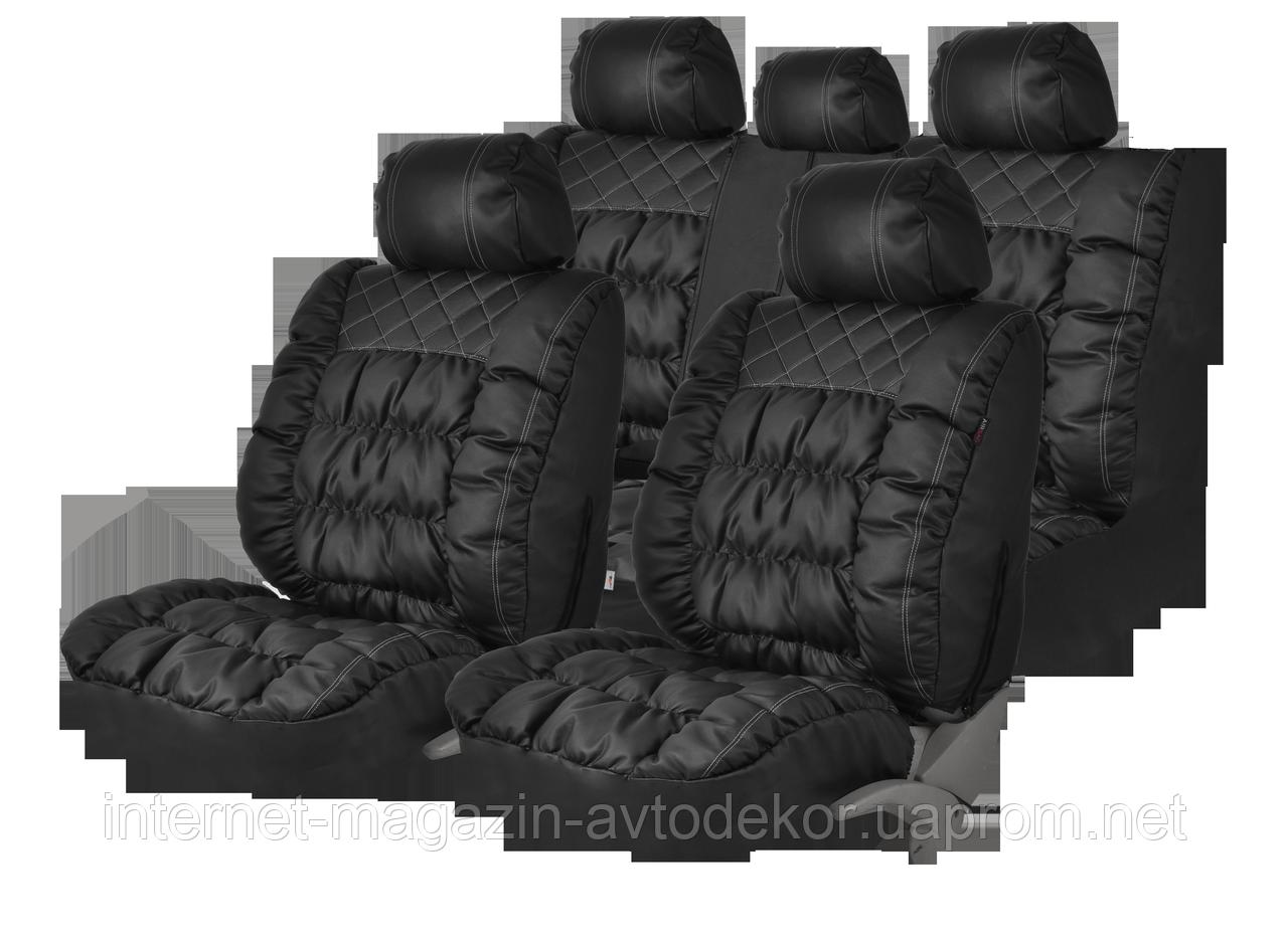Чехлы на сиденья PSV Magnat качественная экокожа, черные.