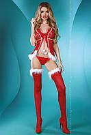 Сексуальный новогодний бэби-долл с белой опушкой Christmas Lady Livia Corsetti (Ливия Корсетти)