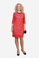 Красное гипюровое платье с однотонной спинкой
