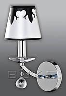 Бра BUKO 1*E14 хром+белый с черным (ткань) 150*340*230ММ