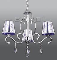 Люстра BUKO 3*E14 хром+ПУРПУРНЫЙ с хромом (ткань) D620*H400ММ