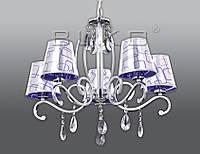 Люстра BUKO 5*E14 хром+ПУРПУРНЫЙ с хромом (ткань) D620*H400ММ