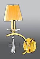Бра BUKO 1*E14 золото+желтый (ткань) 240*200*370ММ