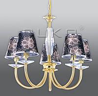 Люстра BUKO 5*E14 золото+черный с узором (ткань) D600*H480ММ