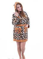 Халат махровый женский Гепард с мордашкой на капюшоне