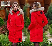 Женское зимнее пальто с мехом на капюшоне