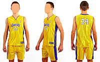 Форма баскетбольная юниорская  NBA LAKERS 24 (фиолетовый, желтый) XL, Желтый