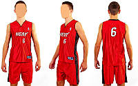 Форма баскетбольная юниорская NBA HEAT 6 (красно-синий) M