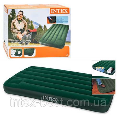Односпальный надувной матрас Intex 66927 (191х99х22) с насосом, фото 2