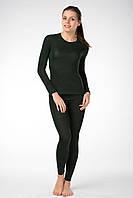 Термобелье женское зеленое  мод.512 Плоские швы, Женский, XS(42-44), Зима, Комплект
