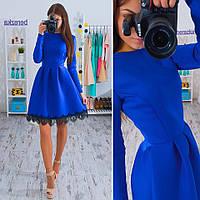 Платье с кружевом по нижней кромке и пышной юбкой из неопрена разные цвета SMs880