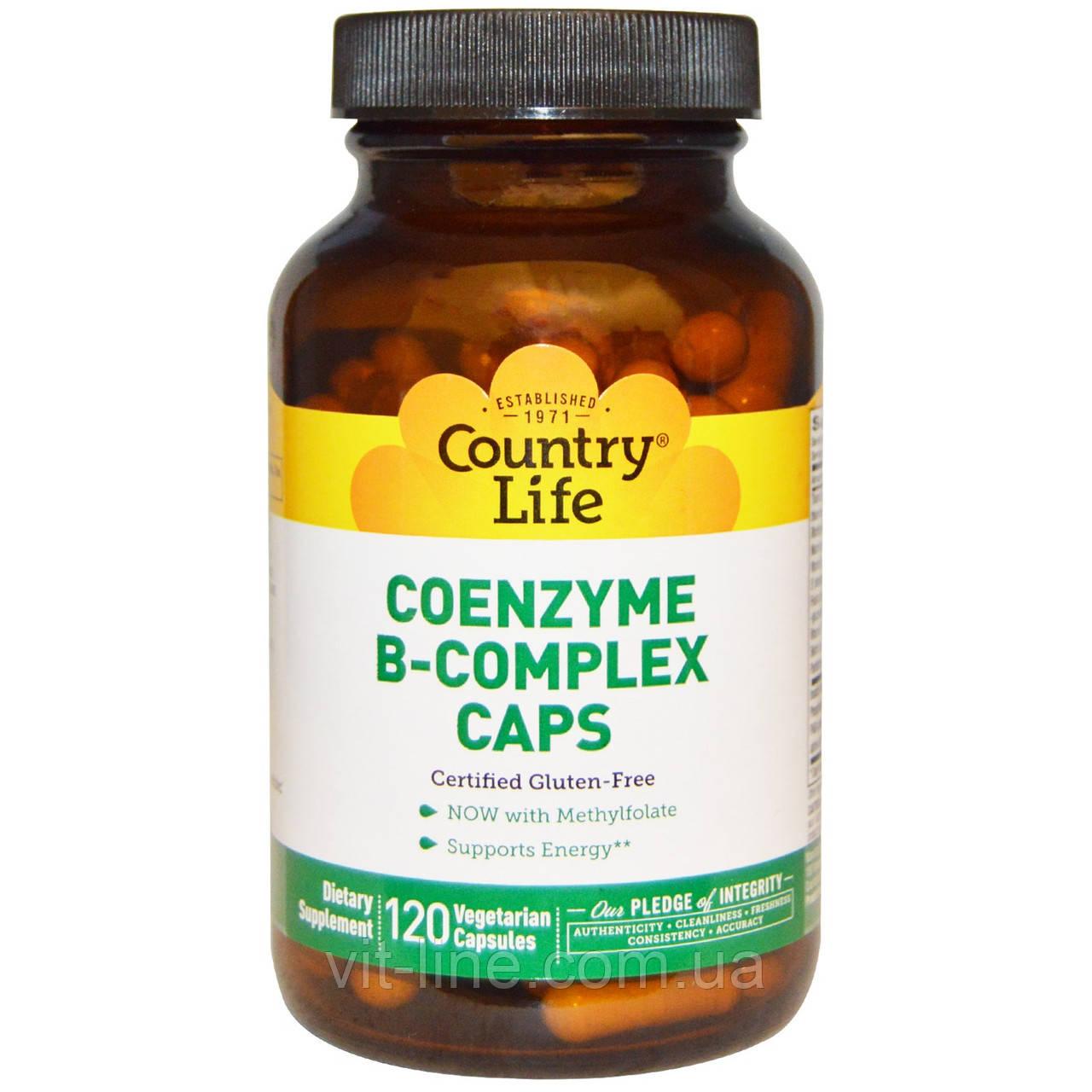 Country Life, Комплекс витаминов В с коэнзимом, 60 вегетарианских капсул