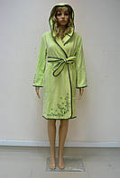 Халат женский короткий с капюшоном NS-00615 Nusa салатовый, S