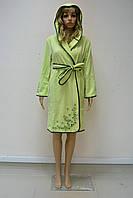 Халат женский короткий с капюшоном NS-00615 Nusa салатовый, M