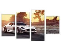 """4-х модульная фотокартина """"Mercedes"""" (четкая печать)"""