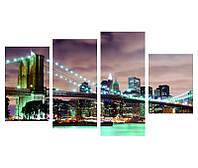 """Эффектная модульная картина """"Бруклинский мост в огнях"""""""