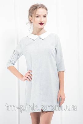 """Шерстяне плаття з білим коміром """"Soft"""" блакить"""