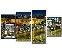 """4-х модульная фотокартина """"Будапешт.ночью"""" (качественная печать)"""