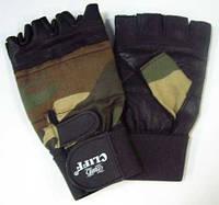 Перчатки спортивные мужские без пальцев кожа с напульсником черные