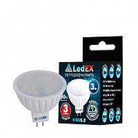 Светодиодная лампа LEDEX 3Вт MR16 285лм 4000К нейтральный матовое стекло 120º  220D чип Epistar (Тайвань)
