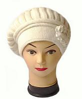 Берет женский вязаный Lina шерсть натуральная цвет молочный белый