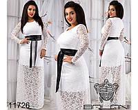 Гипюровое платье в пол белое