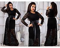 Гипюровое платье в пол черное
