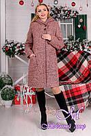 Женское теплое зимнее пальто с капюшоном р. S, M, L, XL арт. Делфи букле зима 8315