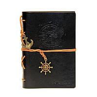 Черный блокнот из эко-кожи (морская тематика). сменные листы