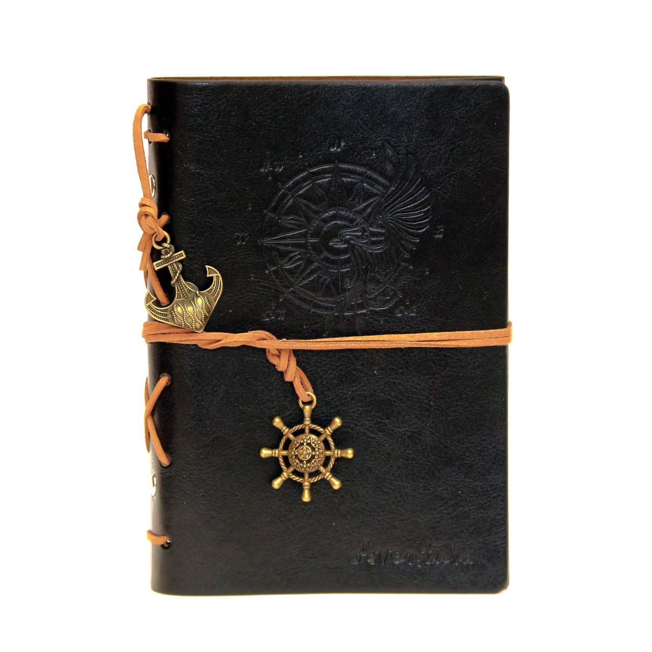 Черный блокнот из эко-кожи (морская тематика). сменные листы - Soroka в Запорожье