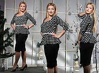 Женское платье Баска горох (48-58) 8157.1