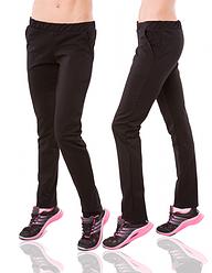 Черные брюки женские трикотажные прямые штаны с карманами