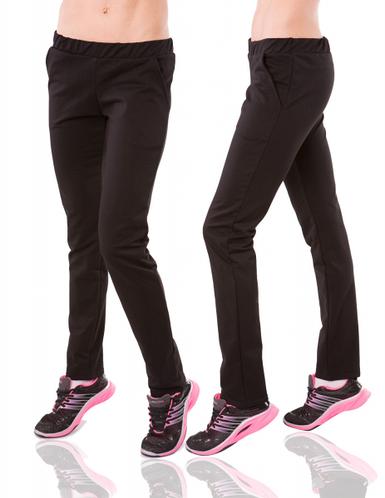 Черные спортивные штаны женские трикотажные прямые Украина